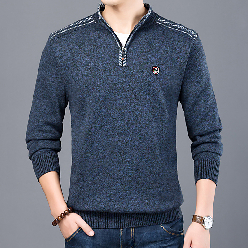 Men Sweaters Pullover Stand-Collar Knit Cashmere Winter Long-Sleeve Zipper Warm Man Casual title=