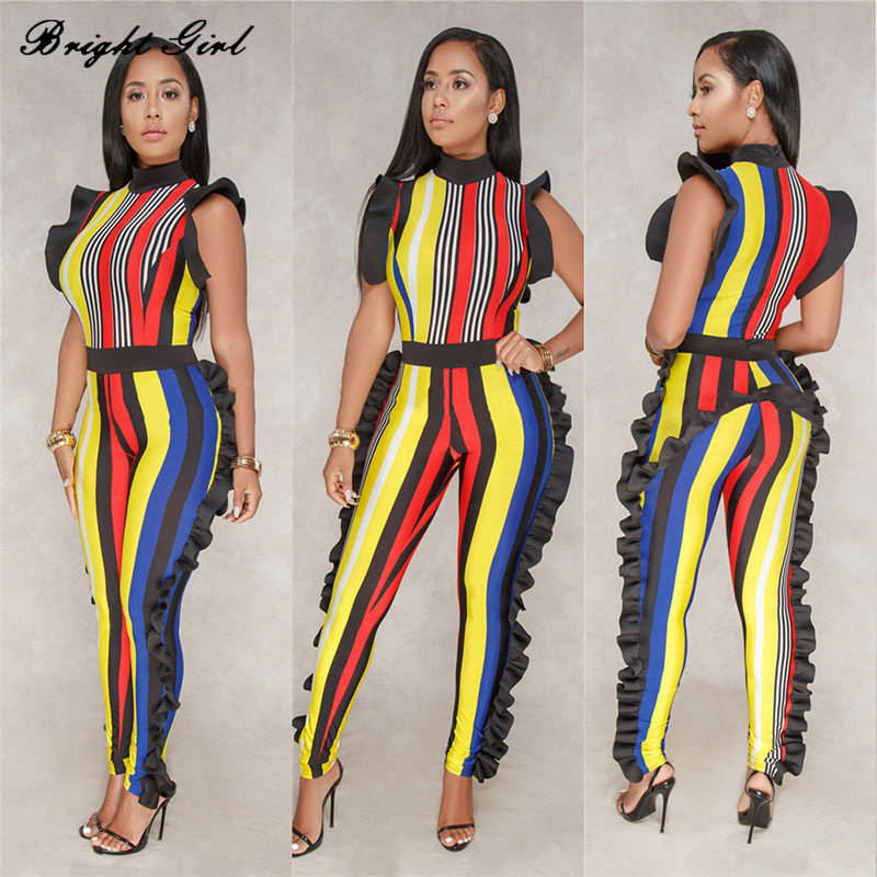 BRIGHT GIRL sexy striped women jumpsuit womens clothes jumpsuit with sashes summer ladies fashion skinny jumpsuit BG17511