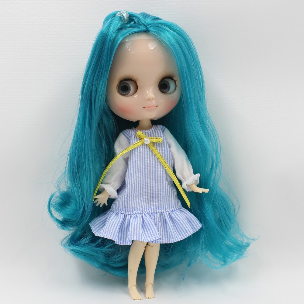 Middie Blythe Doll Blue Dress With Knot Bow Ribbon Stocking 1