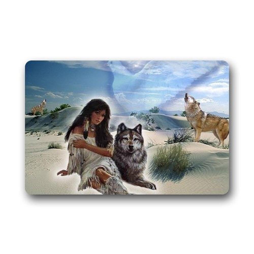 Memory Home Custom Door Mat American Indian Wolf Indoor Outdoor ...