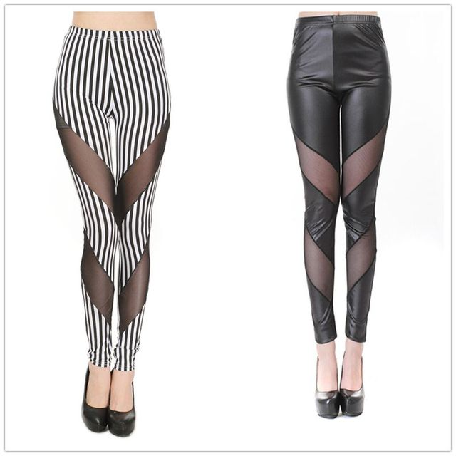 102f126388213 lady fashion striped ankle leggings black white fake leather patchwork slim  legging summer mesh leggings pencil leather pants