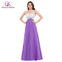 Grace Karin Sexy Backless Purple Long Evening Dresses 2016 Sequin Formal Gowns Women Elegant Prom Dress