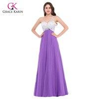 Grace Karin Sexy Backless Purple Long Evening Dresses 2016 Sequin Formal Gowns Women Elegant Prom Dress