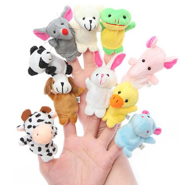 10pcs/lot Finger Puppets,Baby Plush Toy,Talking Props(10 animal group) Free Shipping
