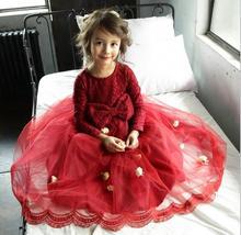 Розничная 2016 Девушки осень кружева марли платье принцессы, девушки платье принцессы, девушки платья балетной пачки, LSS01