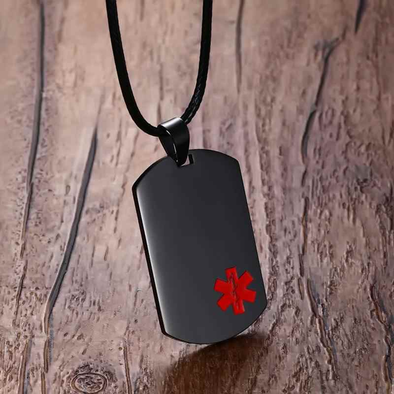 Mens Necklaces Stainless Steel Medical Alert ID Dog tag Pendant Necklace in Black Unisex Fashion Jewelry , Free Engraving