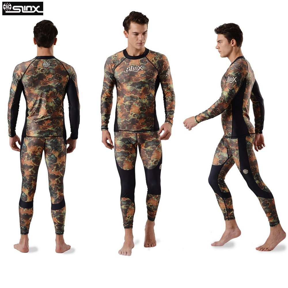 Mens Camo Wetsuits Diving Skin Rash guard with Long Sleeve For Adult UPF50+ Surf Shirt Swimming Suit Man Long Swimming Pants
