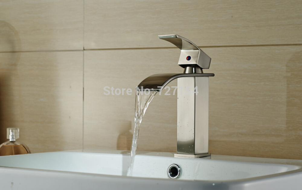 Modern Nickel Brushed Bathroom Basin Faucet Single Handle Vessel Sink Mixer Tap modern nickel brushed bathroom basin faucet single handle vessel sink mixer tap