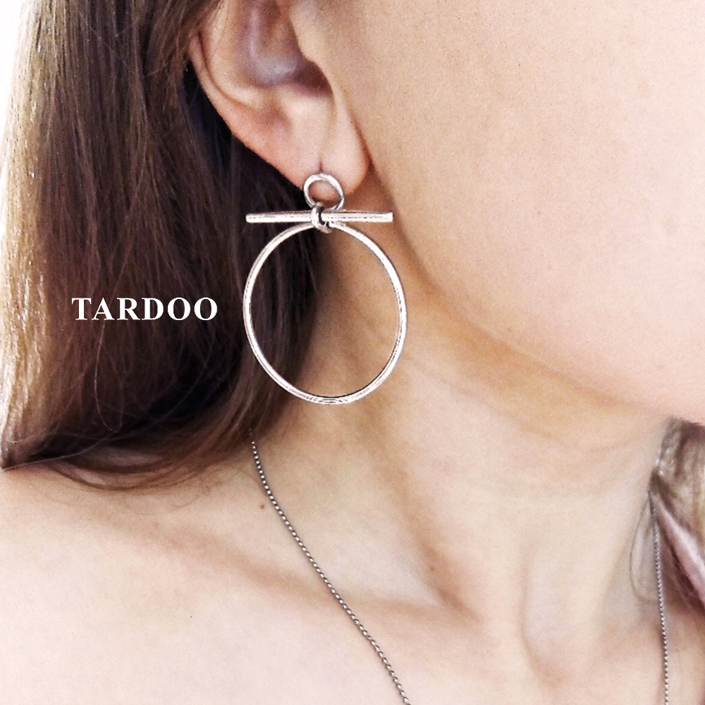 цена Tardoo Genuine 925 Sterling Silver Drop Earrings for Women Big Round Design Trendy&Simple Style Costume Jewelry Earrings в интернет-магазинах