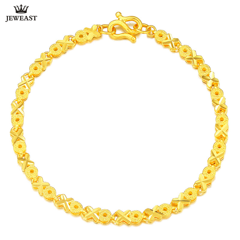 24K Pure Gold Bracelet Real 999 Solid Gold Bangle Beautiful Circles Flowers Trendy Classic Party Fine Jewelry Hot Sell New 2018