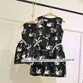 2-10 anos de idade da criança roupas de menina crianças clothing mãe e filha Vestidos Mulheres tamanho Grande 3XL das mulheres Colete Preto Branco cisne