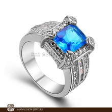 New! Fashion Jewelry Blue Crystal 925 Sterling Silver women's Ring R1072