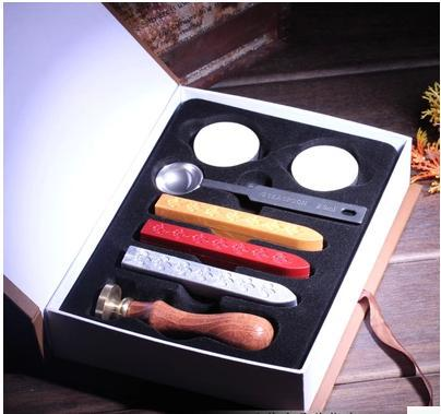 wax spoon candle Set wedding Vintage Chinese Retro candle sealing wax stamp custom logo Personalized stamp wood handle Box set big copper spoon big large size stamp spoon vintage wooden handle brass spoon for sealing wax stamp wax stick spoon