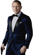 2018 Custom Made Dark Blue Tuxedos Inspired By Suit Worn In James Bond Wedding Suit business suits Groom suit( Jacket+ Pants )(China)