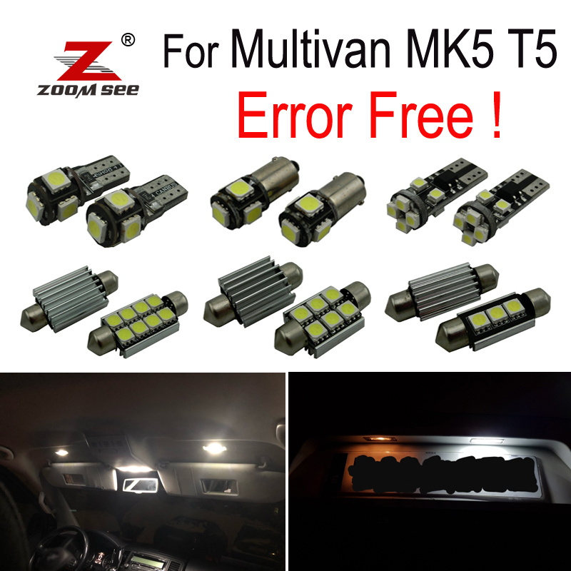20pcs <font><b>LED</b></font> License plate lamp + Interior reading <font><b>Lights</b></font> Kit for Volkswagen For <font><b>VW</b></font> For Multivan MK5 <font><b>T5</b></font> (2003-2015) image