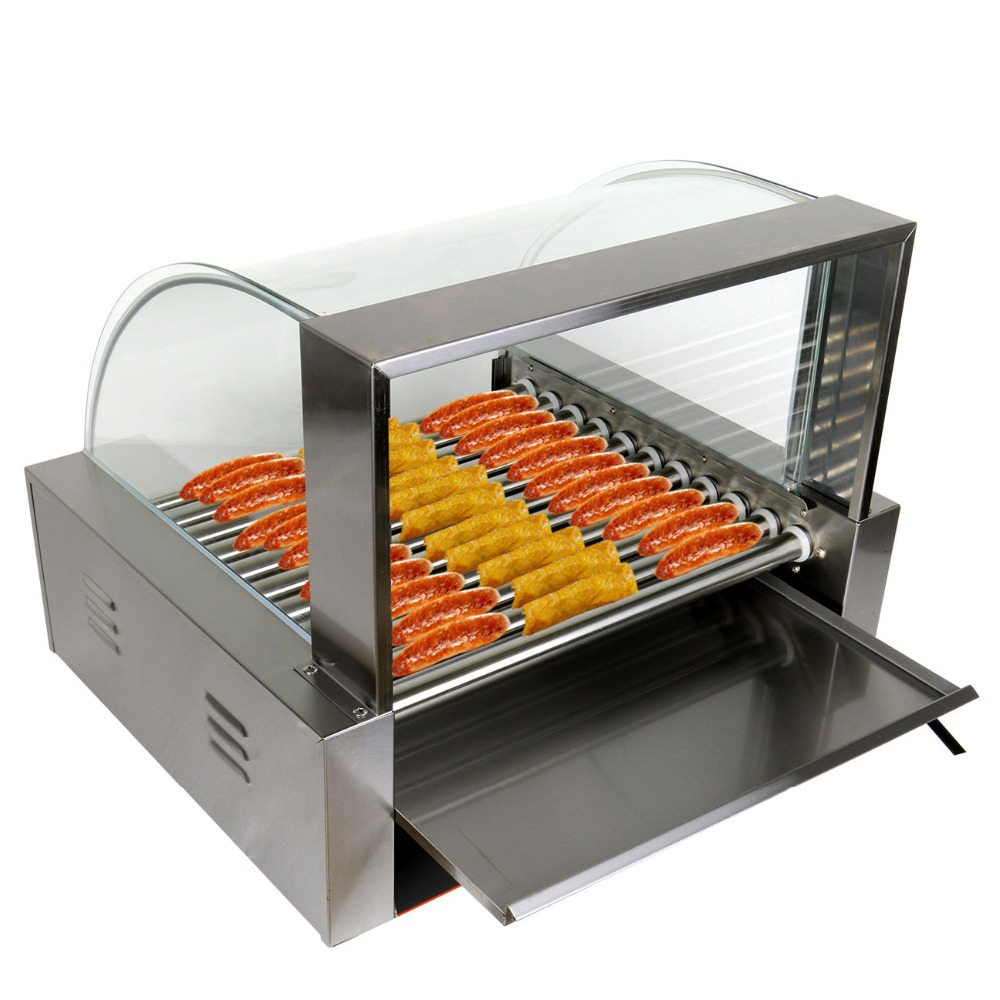 (Ship from US) Commercial 2200w 30 Hot Dog Maker 11 Roller Stainless Electric Sausage Grill Cooker Machine with Cover hot dog grill machine roast sausage grill maker stainless steel hotdog maker cooker with 5 rollers