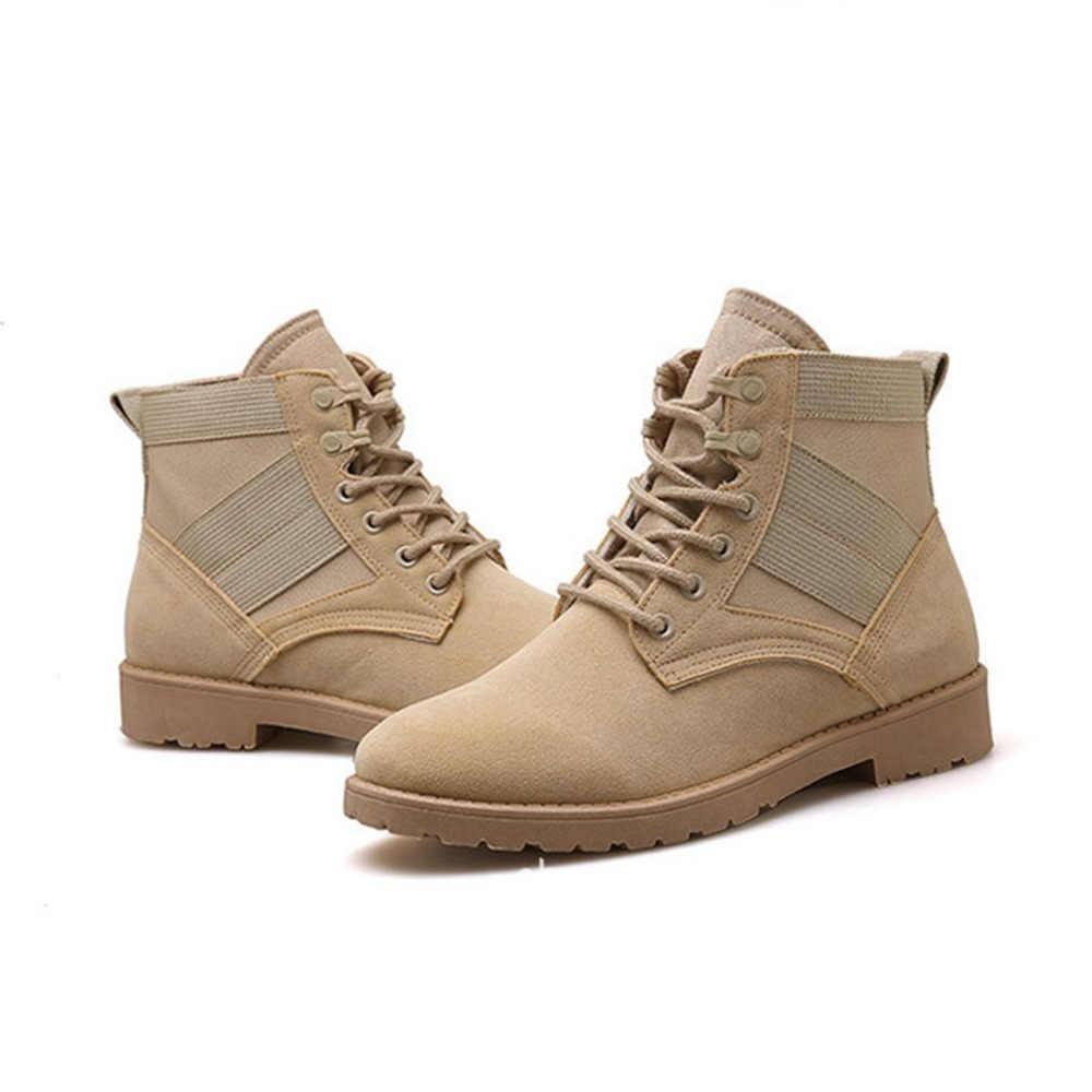 Yüksek Kaliteli Açık Spor yüksek top yürüyüş ayakkabıları Erkekler Kış Kalınlaşmak Taktik Savaş Dikiş Trekking Botları Nefes Sneakers
