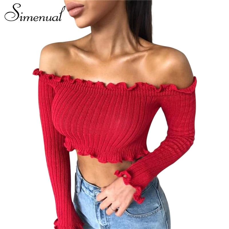 Simenual Autumn new off shoulder crop top ruffles long sleeve t shirt women clothing fitness sexy t-shirt female cropped tops
