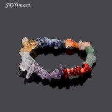 Sedmart 7 чакра исцеление кристаллов природных каменных осколков одной нити женщины браслеты лазурит рейки браслеты для женщин