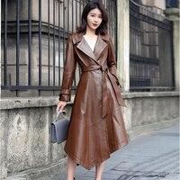 Genuine Leather Trench Coat Women Real Sheepskin Windbreaker with Belt Long Sleeve Leather Coat Gl0124