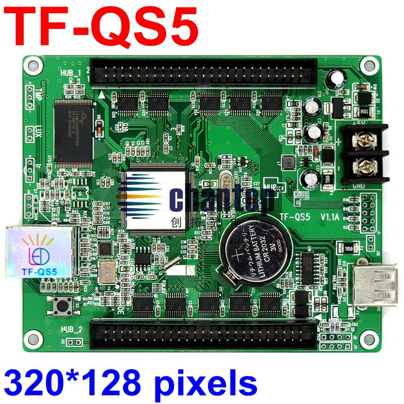 TF-QS5(TF-VTA02) USB +Lan port RGB full color video asynchronous led billboard display control card 320*128 pixel led controller bx 6q3 usb and ethernet port lintel full color led control card asynchronous video led sign controller 384 1024 512 768pixels