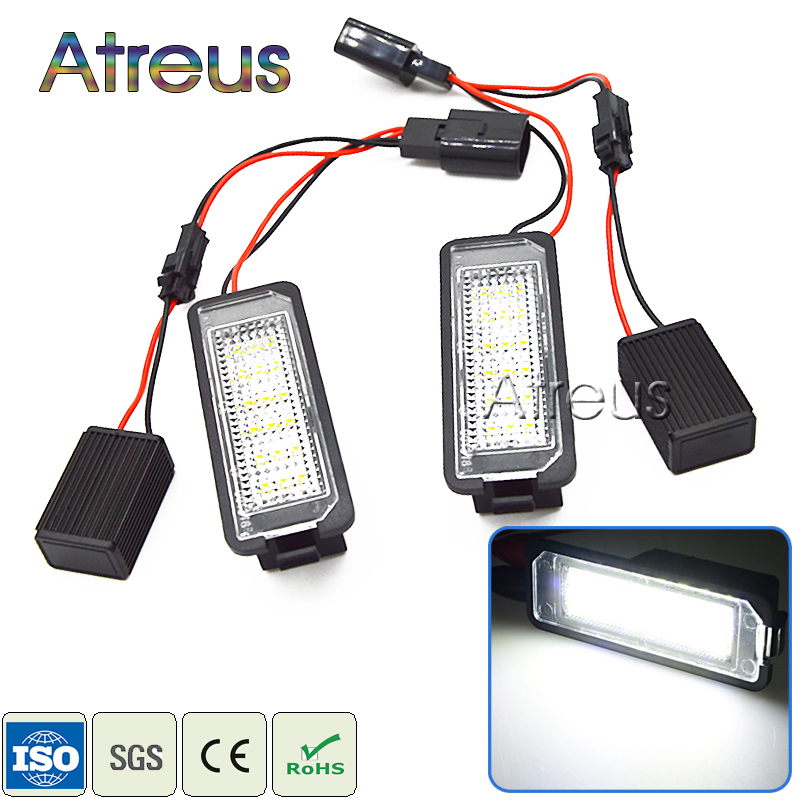 Atreus 2X Car LED License Plate Lights 12V no error For Volkswagen Passat CC Golf 4 5 6 VW Polo Phaeton New Beetle For SEAT Leon