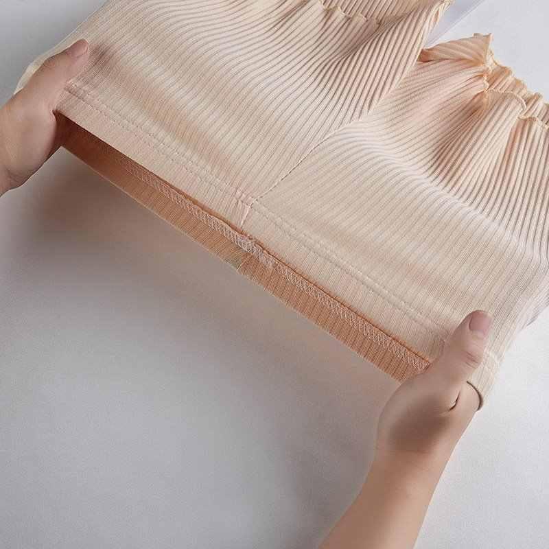 3 Buah/Banyak Wanita Gadis Musim Panas Celana Safety Benang Bergaris Bergaris Seamless Elastis Celana Warna Solid Ruffled Hem Boxer Celana Pendek
