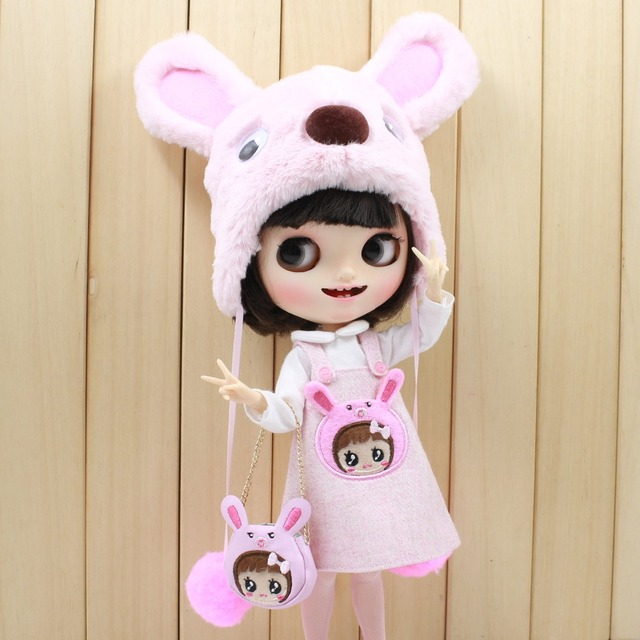 Neo Blythe Doll Pink Bear Suit With Bag & Stocking & Hat
