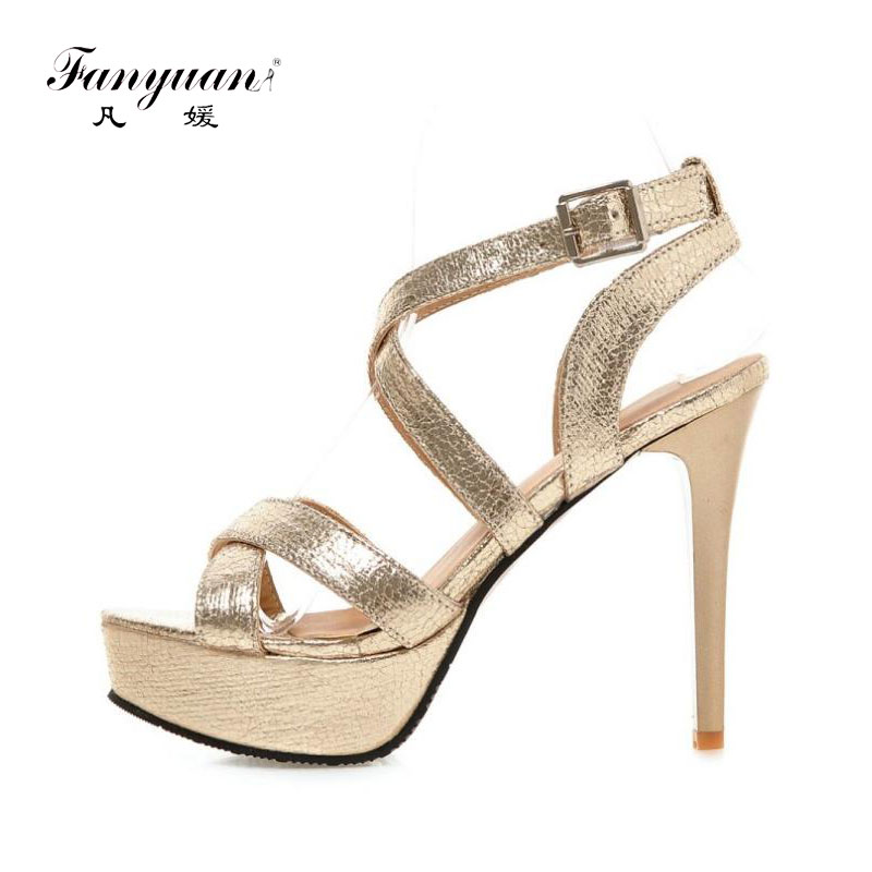 d93ed274cb9 Fanyuan New Design Women Sandals 2018 Fashion Cross Strap Super High Heel  Sexy Gold Sliver Platform Wedding Party Shoes -in High Heels from Shoes on  ...