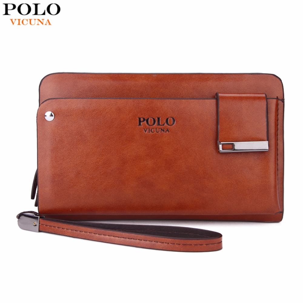 VICUNA POLO New Arrival High Capacity Leather Men's Clutch Wallet With Rotatable Card Holder Famous Brand Leather Men Wallets