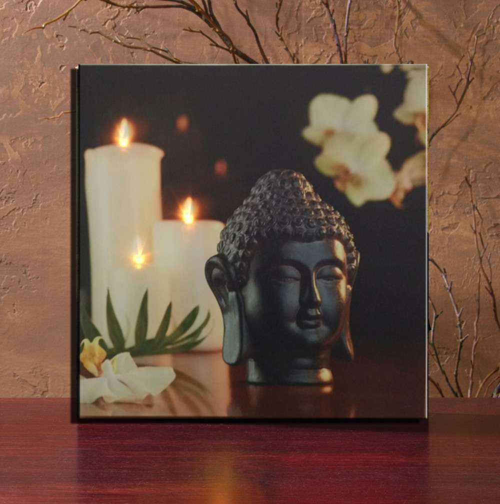 Buddha wall painting with 3pcs white flicking candle led lights buddha wall painting with 3pcs white flicking candle led lights picture lights up canvas wall art decor framed ready to hang in painting calligraphy from jeuxipadfo Images