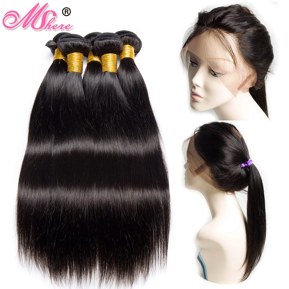 360 Lace Frontal With Bundle Brazilian Straight Human Hair Weave 3 4 Bundles With Lace Frontal