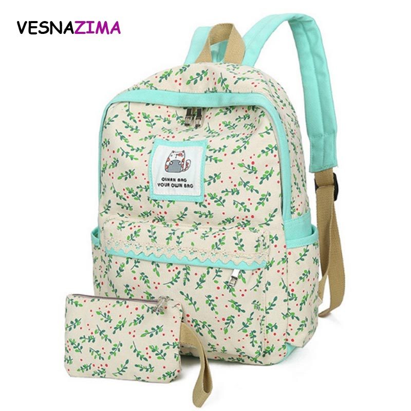 2pcs set backpack 2017 women canvas leaf printing school bag for teenagers girl schoolbag kids pen