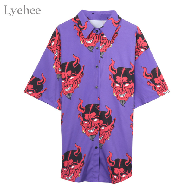 Lychee Harajuku Demon Print Summer Women Blouse Punk Gothic Casual Loose Short Sleeve Shirt Tops Female