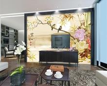 beibehang Landscape peony bamboo flower and bird background wallpaper behang papel de parede decoration painting hudas beauty