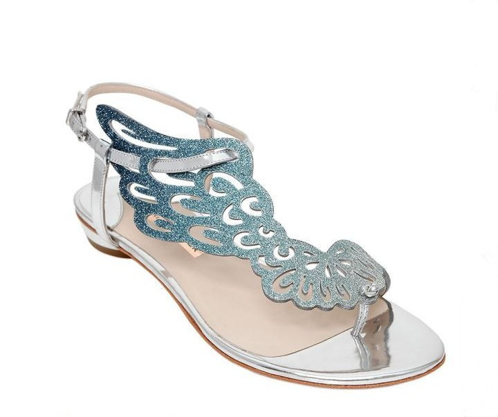 Nuevo rosa/Negro brillo Ángel ala Sandalias planas espejo cuero gladiador Tanga sandalias Bling cristal Chanclas Mujer Zapatos - 3