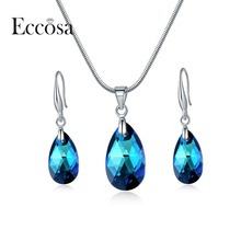 ECCOSA Classic Blue Crystal From Swarovski Jewelry Sets Water Drop Earrings Statement Necklace Fashion Bridal Accessories Gifts(China)
