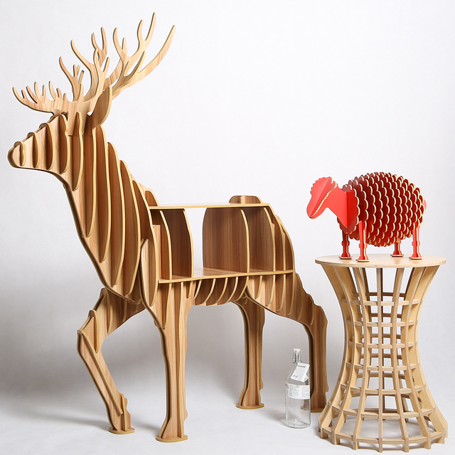 Superb High End Creative Elk Desk Coffee Table Wood Furniture Brand New TM008M