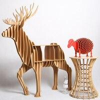 1 Set North European Style Creative Wood Elk Desk Wood Animal Furniture TM008M