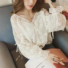 2020 Autumn New Arrival Korean Style V Neck Lace-up Lantern Sleeve Hook White Lace Blouse Single Bre