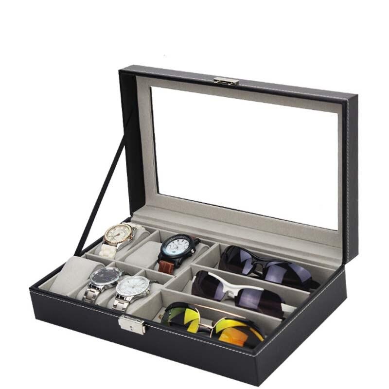 Lunettes de soleil présentoir montre lunettes de stockage organisateur avec couvercle en verre transparent Organization décente de haute qualité