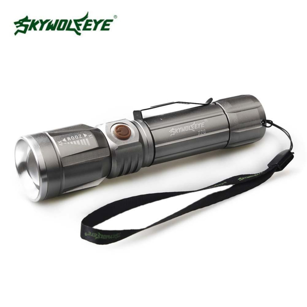 SKYWOLFEYE Portable LED Flashlight 3 Modes T6 LED 18650 Zoomable Bicycle Flashlight Silv ...