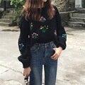 Осень женщины с длинным рукавом обрезано свитер топ дамы перемычки цветок lemon вышивка свободные свитера короткий трикотаж потяните femme
