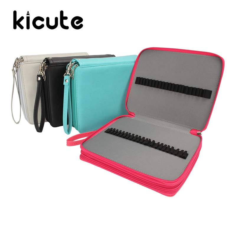 Kicute 120 Holders 4 Layer Pencils Case Large Capacity PU Leather School Pencil Bag For Colored Pencils Watercolor Art Supplies large capacity pencil case canvas 120 slots 4 layers school pencil bag art marker pen holder coloring pencils organizer