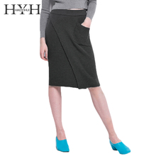 цена на HYH HAOYIHUI 2018 Skirt Solid Black Side Split Pockets High Waist Knitted Skirts Preppy Style Slim Casual For Lady Skirt