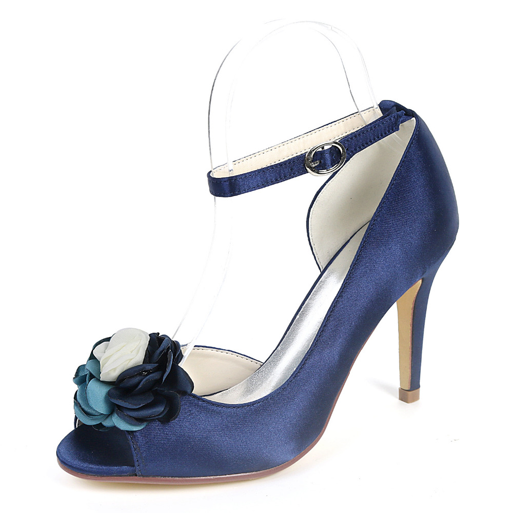 Creativesugar pointed toe D orday side empty lady satin evening dress shoes  flower ankle strap woman pumps prom party heels-in Women s Pumps from Shoes  on ... b9c12e8d98af