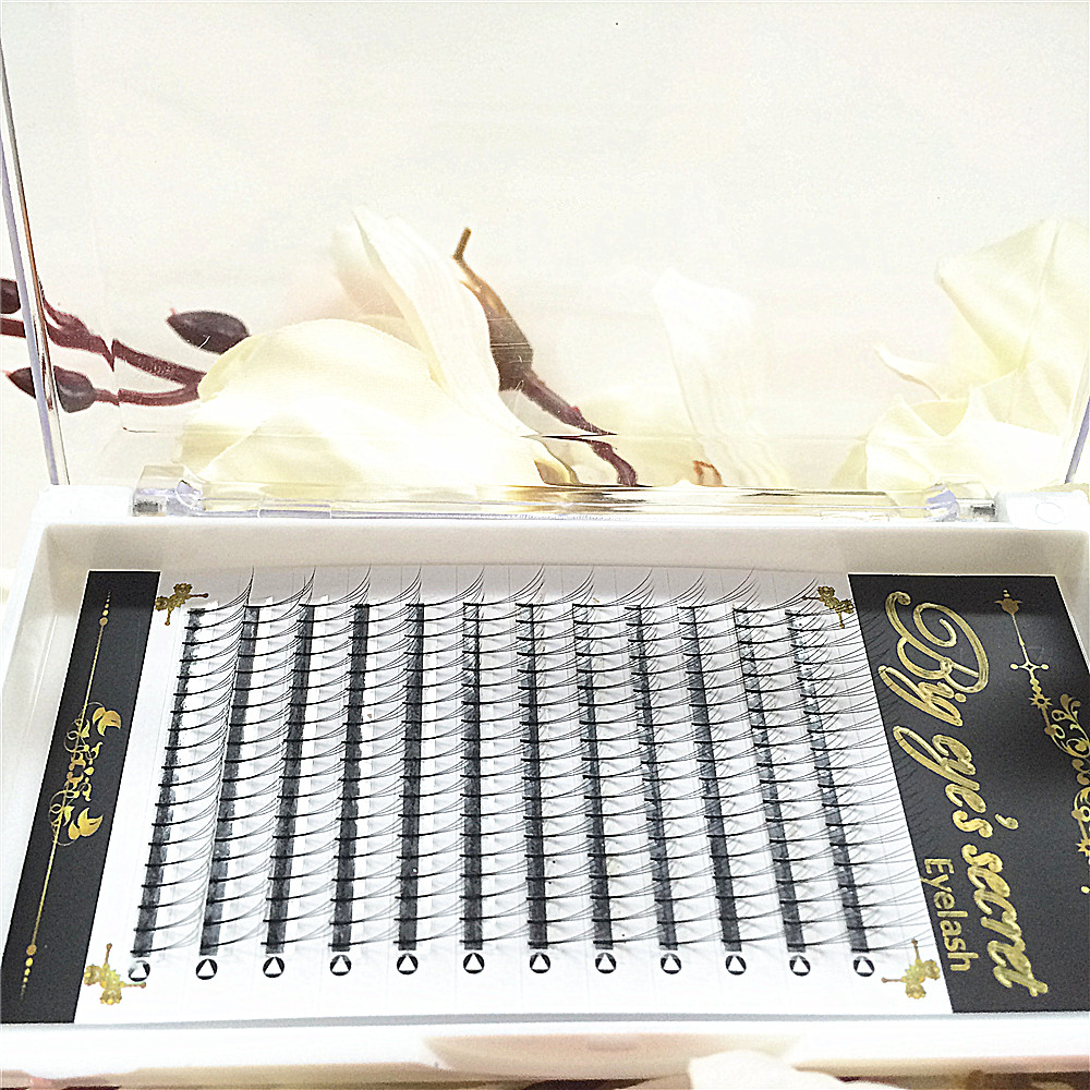 Pre Made Fans 3D Russian Volume Lashes Eyelashes Extensions 0.07 mm Thickness And 9mm-15mm Length lashes factory Free Shipping