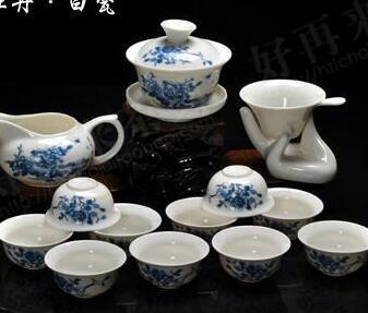 Free Shipping 14PCS drinkware Kung Fu Tea mug.Teapot Ceramic Magpies joy Gaiwan Tea Set Cup