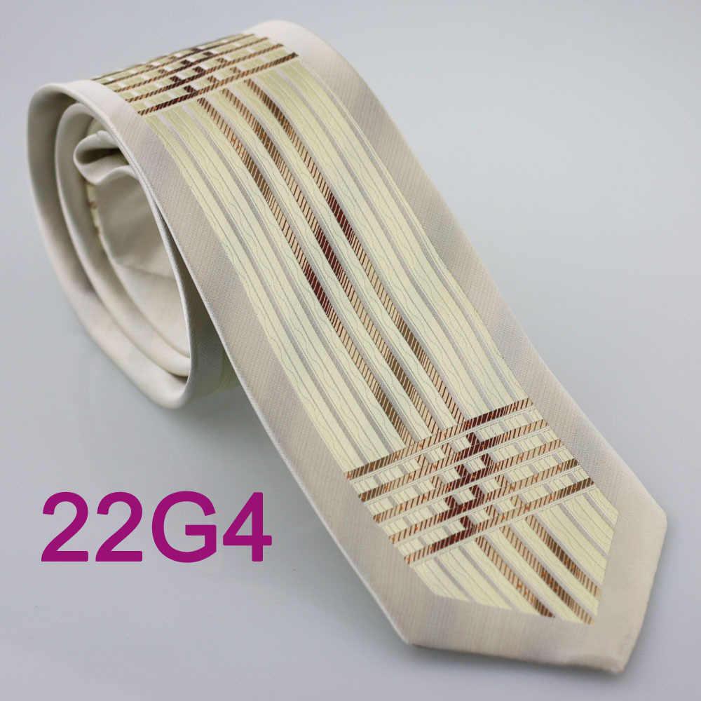HUBUNGAN YIBEI coachella pria Berbatasan Beige Brown Stripes Checkers Woven Dasi mode Leher Dasi untuk pria kemeja Pernikahan