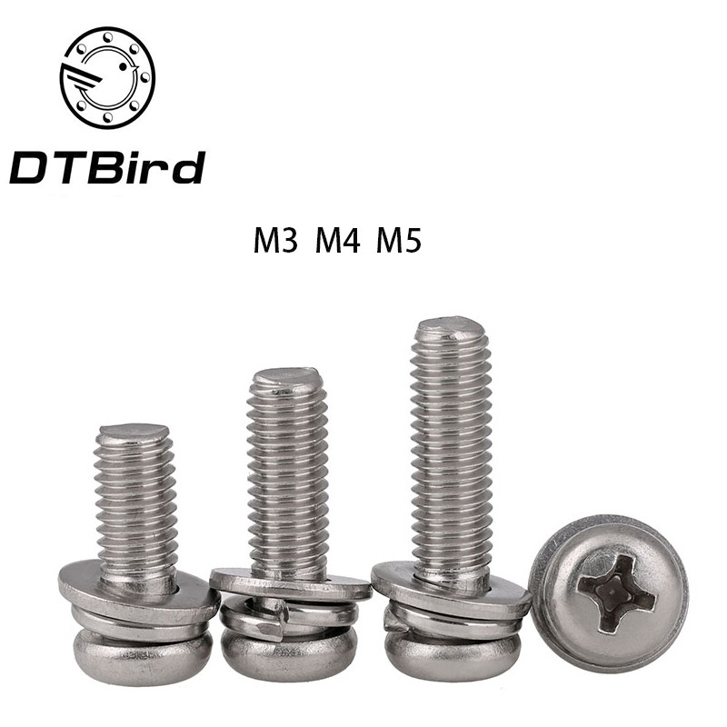 Free shipping GB9074 316 stainless steel round head Three combination screw M3 M4 M5 M6 cross hot sell 2017 free shipping iso7380 304 stainless steel round head screw m3 m4 m5 m6 screws hex socket screw three combination 2018 hot